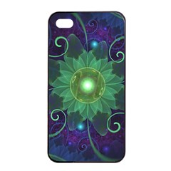 Glowing Blue-Green Fractal Lotus Lily Pad Pond Apple iPhone 4/4s Seamless Case (Black)