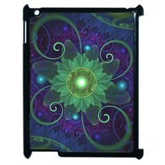 Glowing Blue-Green Fractal Lotus Lily Pad Pond Apple iPad 2 Case (Black)
