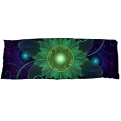 Glowing Blue-Green Fractal Lotus Lily Pad Pond Body Pillow Case Dakimakura (Two Sides)