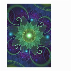 Glowing Blue Green Fractal Lotus Lily Pad Pond Small Garden Flag (two Sides)