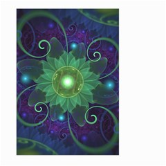 Glowing Blue-Green Fractal Lotus Lily Pad Pond Large Garden Flag (Two Sides)