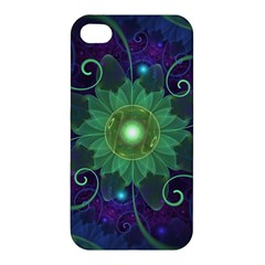 Glowing Blue-Green Fractal Lotus Lily Pad Pond Apple iPhone 4/4S Premium Hardshell Case