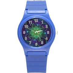 Glowing Blue-Green Fractal Lotus Lily Pad Pond Round Plastic Sport Watch (S)