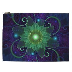 Glowing Blue-Green Fractal Lotus Lily Pad Pond Cosmetic Bag (XXL)