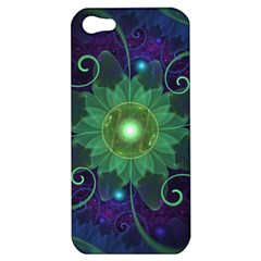 Glowing Blue-Green Fractal Lotus Lily Pad Pond Apple iPhone 5 Hardshell Case