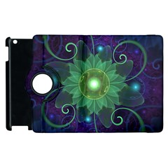 Glowing Blue-Green Fractal Lotus Lily Pad Pond Apple iPad 3/4 Flip 360 Case