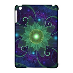 Glowing Blue-Green Fractal Lotus Lily Pad Pond Apple iPad Mini Hardshell Case (Compatible with Smart Cover)