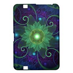 Glowing Blue-Green Fractal Lotus Lily Pad Pond Kindle Fire HD 8.9