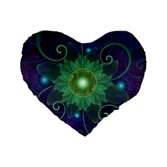 Glowing Blue-Green Fractal Lotus Lily Pad Pond Standard 16  Premium Heart Shape Cushions