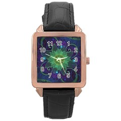 Glowing Blue-Green Fractal Lotus Lily Pad Pond Rose Gold Leather Watch