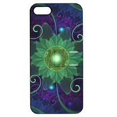 Glowing Blue-Green Fractal Lotus Lily Pad Pond Apple iPhone 5 Hardshell Case with Stand