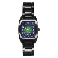 Glowing Blue-Green Fractal Lotus Lily Pad Pond Stainless Steel Barrel Watch