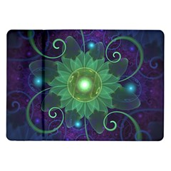 Glowing Blue Green Fractal Lotus Lily Pad Pond Samsung Galaxy Tab 10 1  P7500 Flip Case