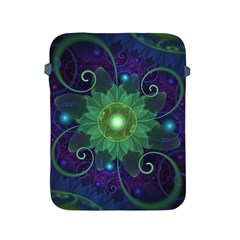 Glowing Blue-Green Fractal Lotus Lily Pad Pond Apple iPad 2/3/4 Protective Soft Cases