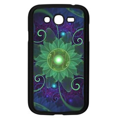Glowing Blue-Green Fractal Lotus Lily Pad Pond Samsung Galaxy Grand DUOS I9082 Case (Black)