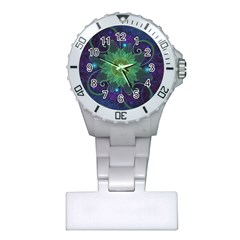 Glowing Blue-Green Fractal Lotus Lily Pad Pond Plastic Nurses Watch