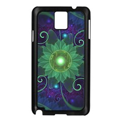 Glowing Blue-Green Fractal Lotus Lily Pad Pond Samsung Galaxy Note 3 N9005 Case (Black)