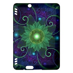 Glowing Blue-Green Fractal Lotus Lily Pad Pond Kindle Fire HDX Hardshell Case