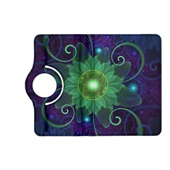 Glowing Blue-Green Fractal Lotus Lily Pad Pond Kindle Fire HD (2013) Flip 360 Case