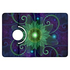 Glowing Blue-Green Fractal Lotus Lily Pad Pond Kindle Fire HDX Flip 360 Case