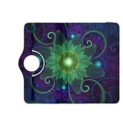 Glowing Blue-Green Fractal Lotus Lily Pad Pond Kindle Fire HDX 8.9  Flip 360 Case