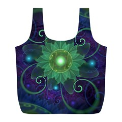 Glowing Blue-Green Fractal Lotus Lily Pad Pond Full Print Recycle Bags (L)