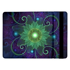 Glowing Blue-Green Fractal Lotus Lily Pad Pond Samsung Galaxy Tab Pro 12.2  Flip Case