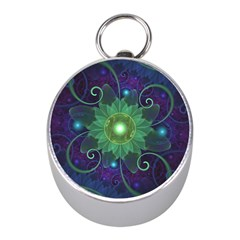 Glowing Blue Green Fractal Lotus Lily Pad Pond Mini Silver Compasses