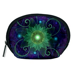 Glowing Blue-Green Fractal Lotus Lily Pad Pond Accessory Pouches (Medium)