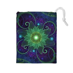 Glowing Blue-Green Fractal Lotus Lily Pad Pond Drawstring Pouches (Large)