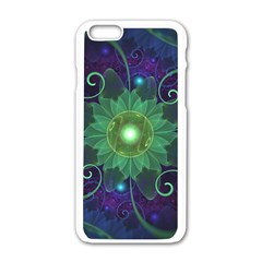 Glowing Blue-Green Fractal Lotus Lily Pad Pond Apple iPhone 6/6S White Enamel Case