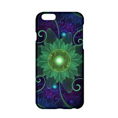 Glowing Blue-Green Fractal Lotus Lily Pad Pond Apple iPhone 6/6S Hardshell Case