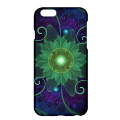 Glowing Blue-Green Fractal Lotus Lily Pad Pond Apple iPhone 6 Plus/6S Plus Hardshell Case