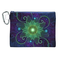Glowing Blue-Green Fractal Lotus Lily Pad Pond Canvas Cosmetic Bag (XXL)