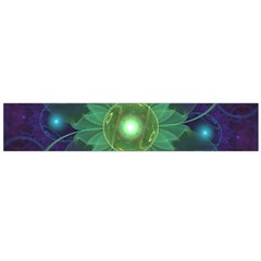 Glowing Blue-Green Fractal Lotus Lily Pad Pond Flano Scarf (Large)