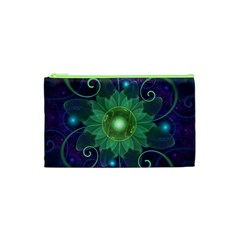 Glowing Blue-Green Fractal Lotus Lily Pad Pond Cosmetic Bag (XS)