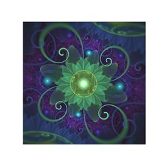 Glowing Blue-Green Fractal Lotus Lily Pad Pond Small Satin Scarf (Square)