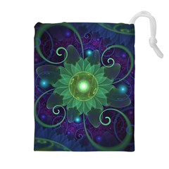 Glowing Blue-Green Fractal Lotus Lily Pad Pond Drawstring Pouches (Extra Large)