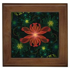 Beautiful Red Passion Flower in a Fractal Jungle Framed Tiles