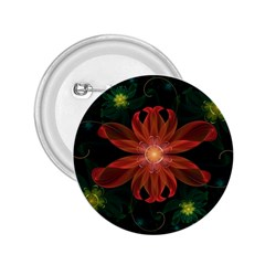 Beautiful Red Passion Flower in a Fractal Jungle 2.25  Buttons