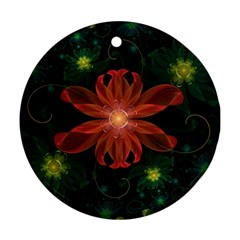 Beautiful Red Passion Flower in a Fractal Jungle Ornament (Round)