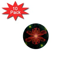 Beautiful Red Passion Flower in a Fractal Jungle 1  Mini Magnet (10 pack)