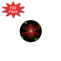 Beautiful Red Passion Flower in a Fractal Jungle 1  Mini Buttons (100 pack)
