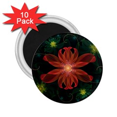 Beautiful Red Passion Flower in a Fractal Jungle 2.25  Magnets (10 pack)
