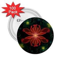 Beautiful Red Passion Flower in a Fractal Jungle 2.25  Buttons (100 pack)
