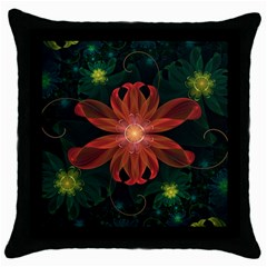Beautiful Red Passion Flower in a Fractal Jungle Throw Pillow Case (Black)