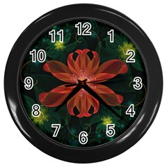Beautiful Red Passion Flower in a Fractal Jungle Wall Clocks (Black)