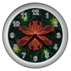 Beautiful Red Passion Flower in a Fractal Jungle Wall Clocks (Silver)