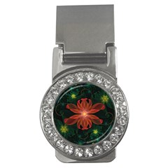 Beautiful Red Passion Flower in a Fractal Jungle Money Clips (CZ)
