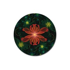 Beautiful Red Passion Flower in a Fractal Jungle Magnet 3  (Round)